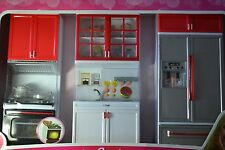 Barbie Sized Dollhouse Furniture- Modern Comfort Kitchen Refrigerator Sink St...