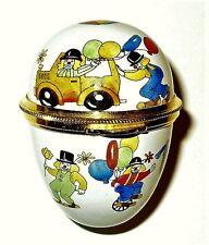 Staffordshire English Enamel Box - Egg With Performing Circus Clowns - Mib