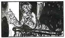 Die ALTE DAME auf dem BALKON - Émilien DUFOUR - Original Holzschnitt 1927