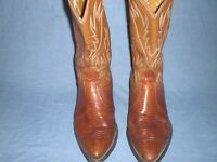 Nocona Cowboy boots Brand Lizard Tan Leather Exotic SIZE 10 D
