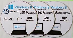 HP Pavilion 17-e016dx Factory Recovery Media 3-Discs Set / Windows 8 64bit