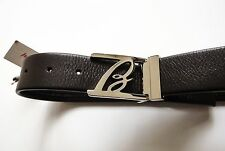 $600 NEW BRIONI Brown Soft Pebbled Leather Hand Made Belt 38 US 54 Euro 100 CM