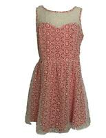 LC Lauren Conrad White Floral Overlay Pink Sleeveless Dress Women's Plus Size 16