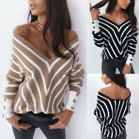 S-XL Women Casual Long Sleeve Striped T shirt Tops V Neck Blouse Black White