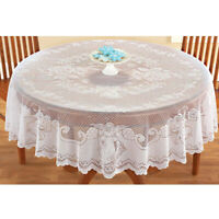 White Tablecloth Vintage Round Lace Table Cloth Cover Wedding Xmas Decor 178cm