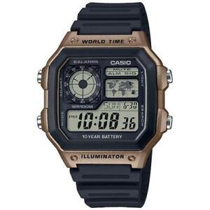Casio Digital Men Watch AE-1200WH-5AVEF Sport World Time Water Resist Black