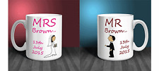 PERSONALISED BRIDE & GROOM MUG WEDDING GIFT SET PRESENT