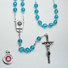 Our Lady of LOURDES Holy Water - Crystal Rosary - Aqua