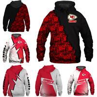2020 Men's Hoodie Kansas City Chiefs Hooded 3D Print Sweatshirts Pullover Jacket