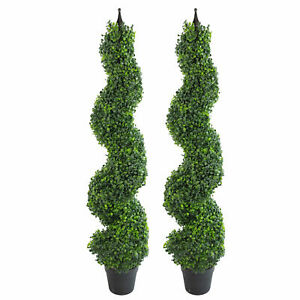 Pair of 120cm (4ft) Tall Artificial Boxwood Tower Trees Topiary Spiral Metal ...