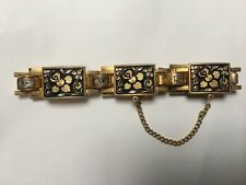Vintage 1950's - 1960s Spanish Toledo faux Damascene black gold tone  bracelet