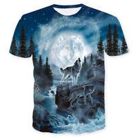 Men's  Womens Wolf Head 3D Print Fashion Casual T-Shirt Short Sleeve Graphic Tee
