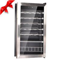 SMAD 28 Bottles Glass Door Wine Fridge Compact Beverage Cooler Bar Refrigerator