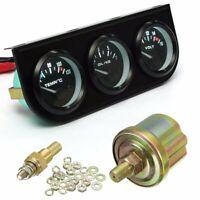 """2'' 52mm Car Triple Gauge Set Kit Meter Water Temp Oil Pressure 8 -16V 1/8"""""""