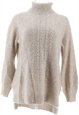Isaac Mizrahi 2-Ply Cashmere Turtleneck Sweater Heather Oatmeal L NEW A343876