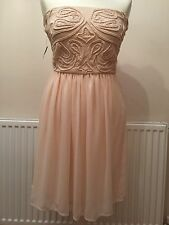 Zara Peach Chiffon Embroidered Bandeau Party Prom Wedding Dress Size L Large