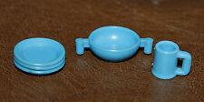 Playmobil accessoire lot vaisselle bleu assiette tasse cuisine maison ref bb
