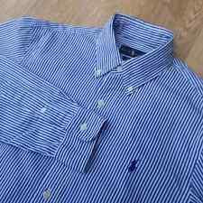 Ralph Lauren men's Shirt Size Small-Medium Striped White Dark Blue Navy Slim fit