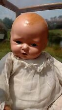 "ANTIQUE Baby Doll 20"" Composition & Cloth INDIANA Farm House Gauze Night Shirt"