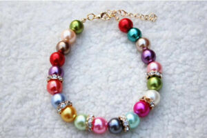 Pet Charm Pearl Collar Puppy Dog Jewelry Necklace  Collar