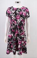 Necessary Objects NWT Dress Size Large Black Gray Pink Floral Peplum Hem Womens