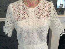 Rare Monsoon Vincenzina White Lace Crochet  Dress 14 Pristine Hols