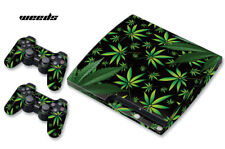 Skin Decal Wrap For PS3 Slim PlayStation 3  Console + Controller Weeds Black