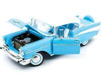 1957 CHEVROLET BEL AIR LIGHT BLUE 1:18 DIECAST MODEL CAR BY ROAD SIGNATURE 92109