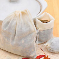 10x Cotton Muslin Drawstring Straining Bag for Spice Herb Bouquet Garni 10*15cm