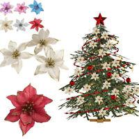 6x Weihnachten Glitzer Blume Fake Hängen Kranz DIY Weihnachtsbaum Ornament Dekor