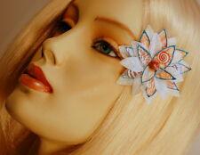 "MINI WHITE SPARKLE ""MERMAID"" POINSETTIA CLIP #1, CHRISTMAS HAIR FLOWER"