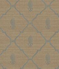 Wallpaper Designer Blue Trellis Lattice with Fleur de Lis on Taupe Gold Crackle