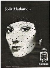 PUBLICITE ADVERSTISING  1973   BALMAIN  parfum JOLIE MADAME