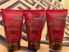 (3)L'Oreal Sublime Bronze Summer Express Wash-off Body Makeup Lotion Medium 1oz