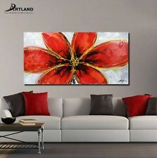 Large Oil Painting  Canvas Wall Art Set Hand Painted Framed  'Bright Red Flower""