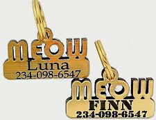 Cat Collar Id Tag for Cats and Kittens Laser Engraved Endurable Plastic 1.25 In