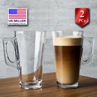 Pasabahce Glass Latte Coffee Mug Set, Turkish Tea Glasses, Set of 2, 12.7 oz