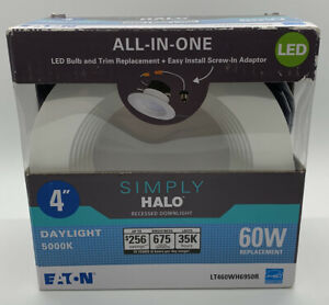 Halo LT 4 in. 5000K Integrated LED White Recessed Light Retrofit Trim, Daylight