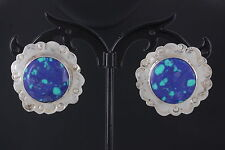 Round Earrings 925 Mexico 0916B Sterling Silver Blue & Green Stone