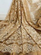 Gold Scalloped Embroidery Bridal Fabric 52'' PRICE PER METER