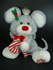 """Fisher Price Puffalump Gray Christmas Mouse Plush With Candy Cane 12"""" 1987"""