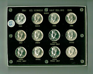 Lot of 12 Silver BU & Proof Kennedy Halves in Capital Plastics Holder
