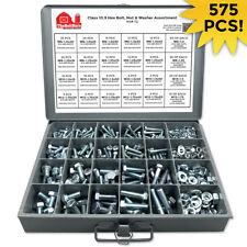 Grade 10.9 Metric Hex Cap Screws Hex Bolts, Nut, Washer Assortment Kit - 575 PCS