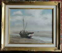 JOHN COWARD ORIGINAL OIL PAINTING OF A MOORED BOAT LEIGH-ON-SEA ESSEX