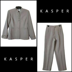 Kasper Women 2 Piece Career Formal Blazer Suit & Pants Gray Size 6P