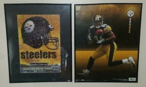"""Two Pittsburgh Steelers Professionally Framed Pictures 20 7/16"""" x 16 3/8"""""""