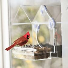 Pet Bird Feeder Bird Cage House Shape Transparent Acrylic Bird House Clear U8J1