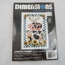 "NEW 1994 Dimensions Counted Cross Stitch Kit Country Pyramid Joan Poole 5""x7"""