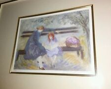 Barbara A Wood Mother and Child Park Bench Lithograph Print Signed 244/975