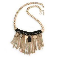 Statement Gold Tone with Black Cotton Cord Fringe Necklace - 63cm L/ 7cm Ext/ 11